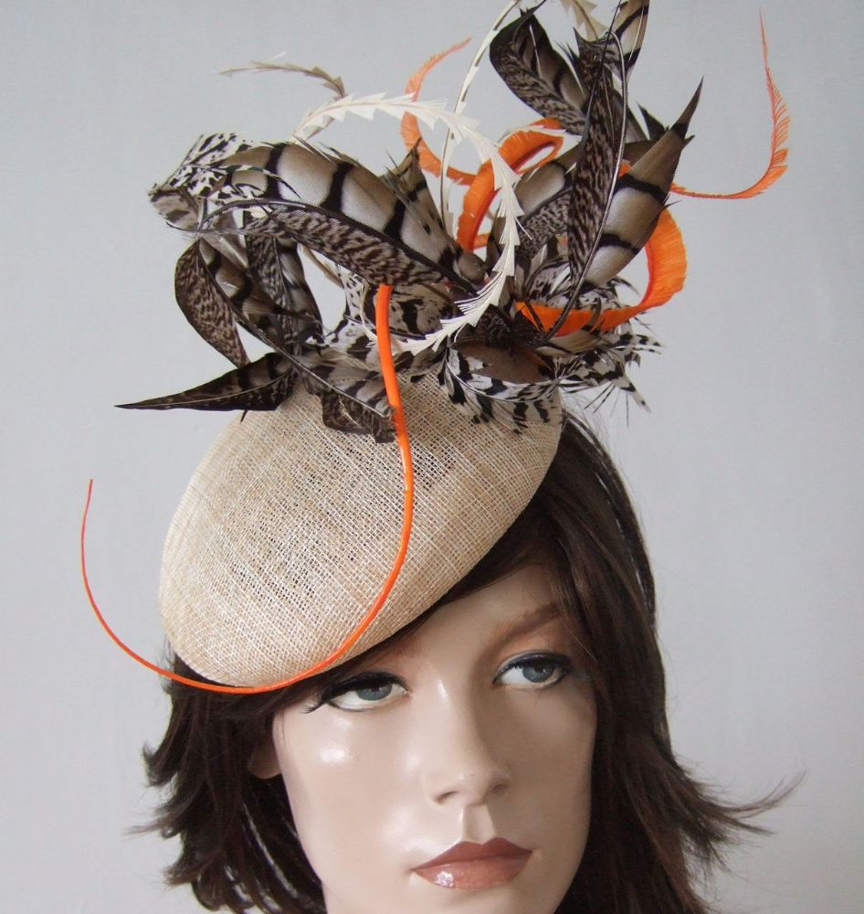 "Natural Orange and Brown Amherst Pheasant Feathered Beret Headpiece Hat  ""Madlyn"""